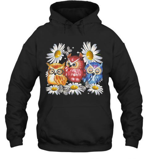 Owl And Daisy Flower T-Shirt Unisex Hoodie