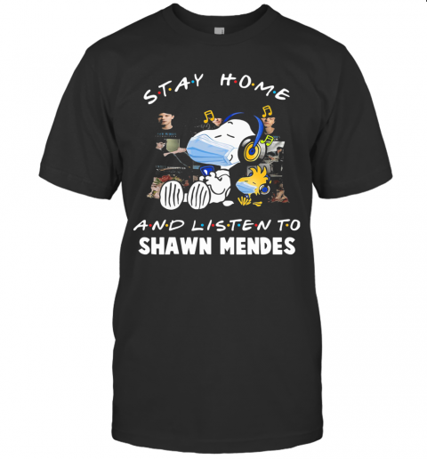 Snoopy Wear Mask Stay Home And Listen To Shawn Mendes Covid 19 T-Shirt Classic Men's T-shirt