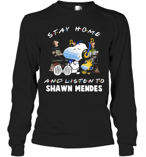 Snoopy Wear Mask Stay Home And Listen To Shawn Mendes Covid 19 T-Shirt Long Sleeved T-shirt