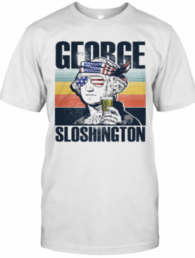 George Sloshington Drinking 4Th Of July Independence Day American Flag Vintage Retro T-Shirt