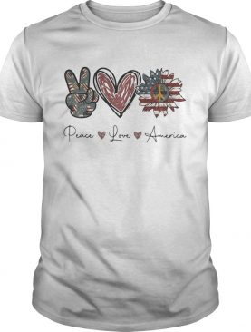 Independence Day peace love sunflower america shirt