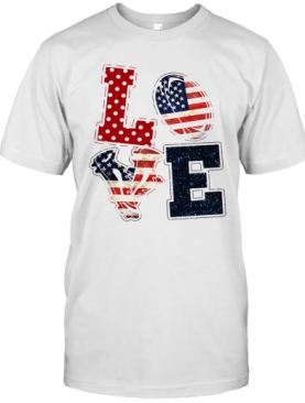 Love Rugby American Flag Veteran Independence Day T-Shirt