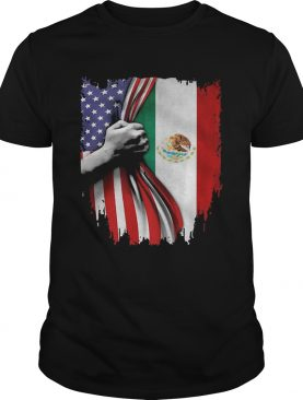 Mexico and American flag veteran Independence Day hand shirt