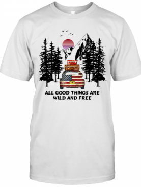 Peace American Flag Car All Good Things Are Wild And Free T-Shirt