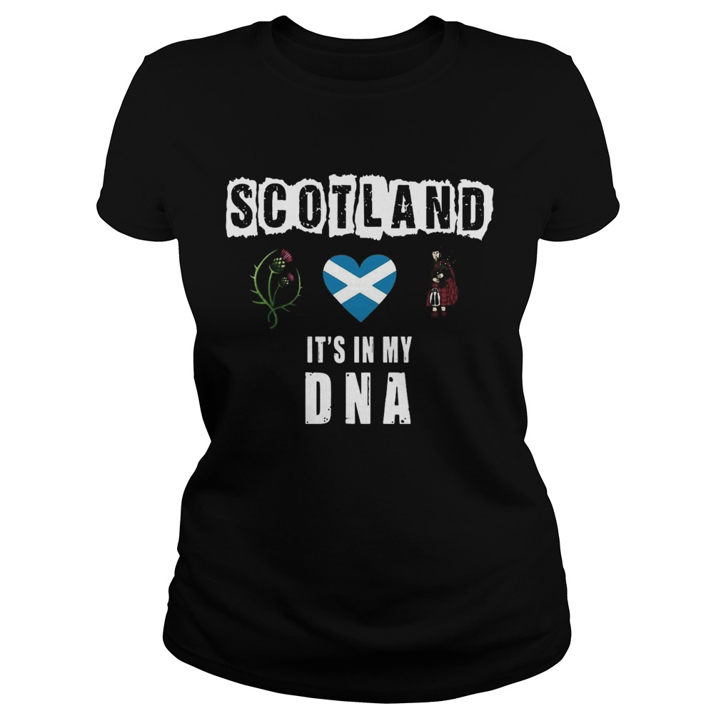 Scotland Flag Heart Highland Dress Its In My DNA  Classic Ladies