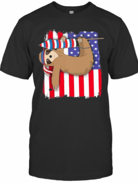 Sloth American Flag Veteran Independence Day T-Shirt