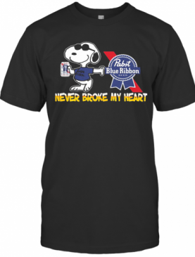 Snoopy Pabst Blue Ribbon Beer Never Broke My Heart T-Shirt