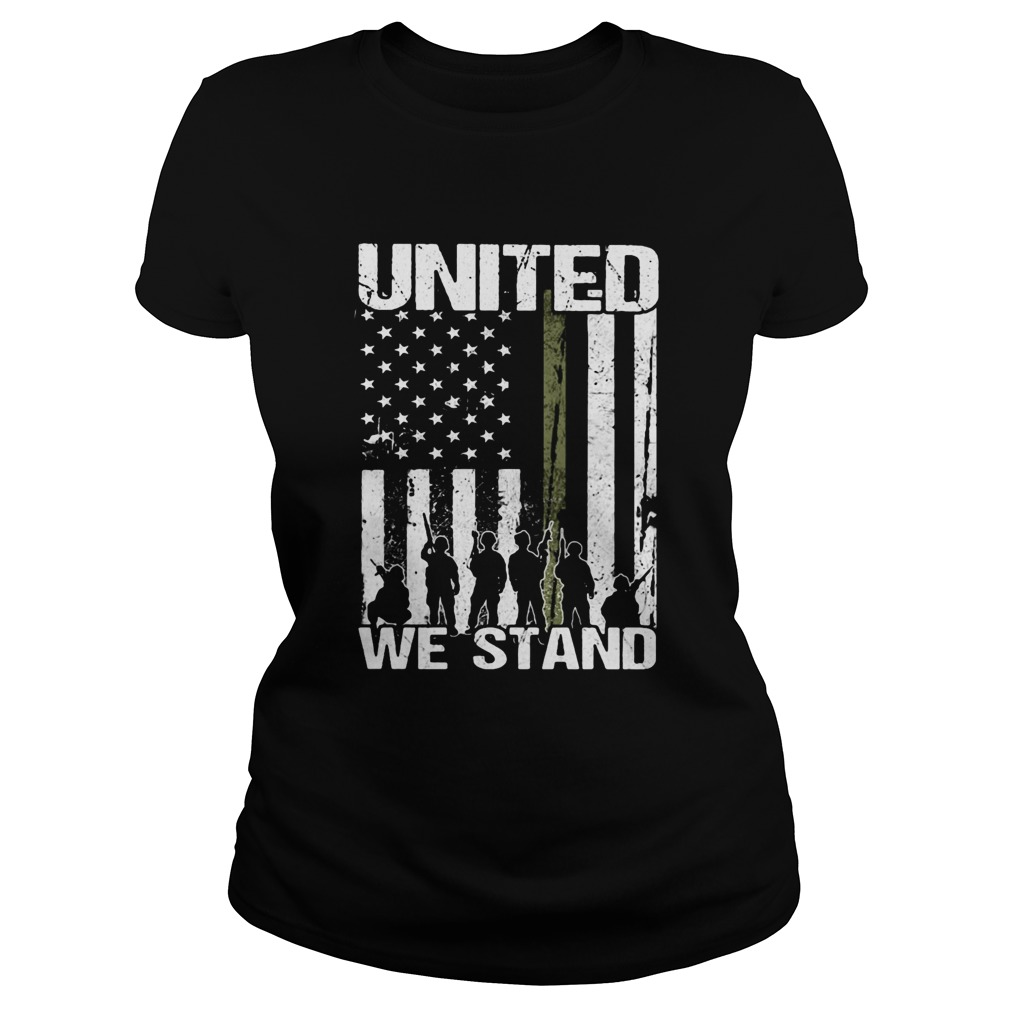 Veteran united we stand american flag independence day  Classic Ladies