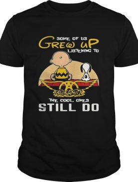 Charlie brown and snoopy some of us grew up listening to aerosmith the cool ones still do shirt