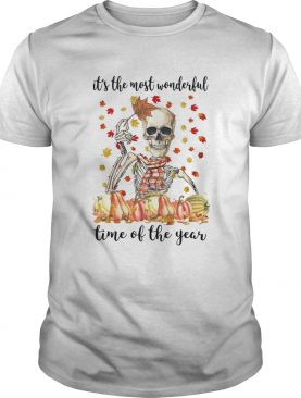 Halloween skeleton its the most wonderful time of the year maples leaves shirt