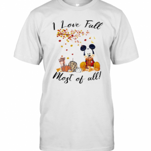 Mickey Mouse I Love Fall Most Of All Leaves Tree T-Shirt Classic Men's T-shirt
