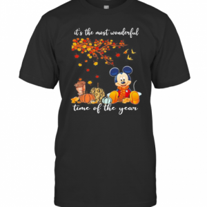 Mickey Mouse It'S The Most Wonderful Time Of The Year Leaves Tree T-Shirt Classic Men's T-shirt