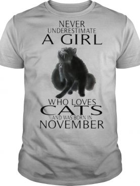 Never underestimate a girl who loves cats and was born in november shirt
