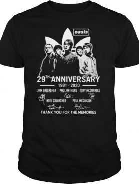 Oasis 29th anniversary 1991 2020 thank for the memories signatures shirt