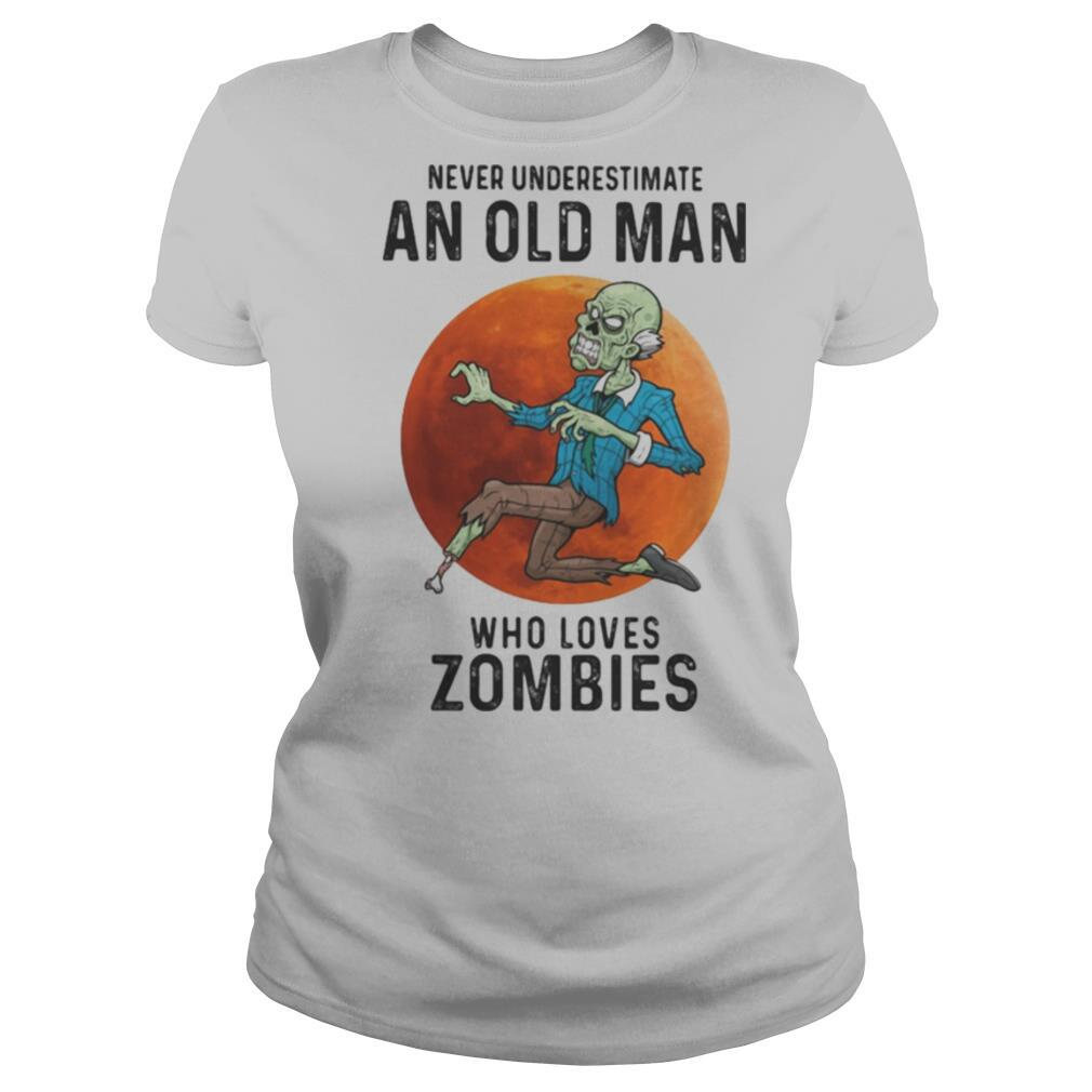 Never underestimate an old man who loves zombies sunset shirt