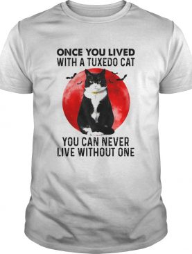 Black Cat Once You Lived With A Tuxedo Cat You Can Never Live Without One Moon shirt