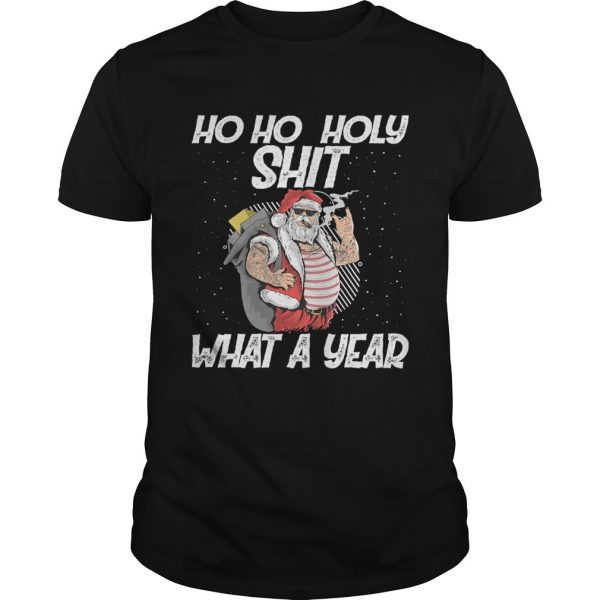 Ho Ho Holy Shit What A Year Tattoo Santa Claus With Glasses Christmas  Unisex