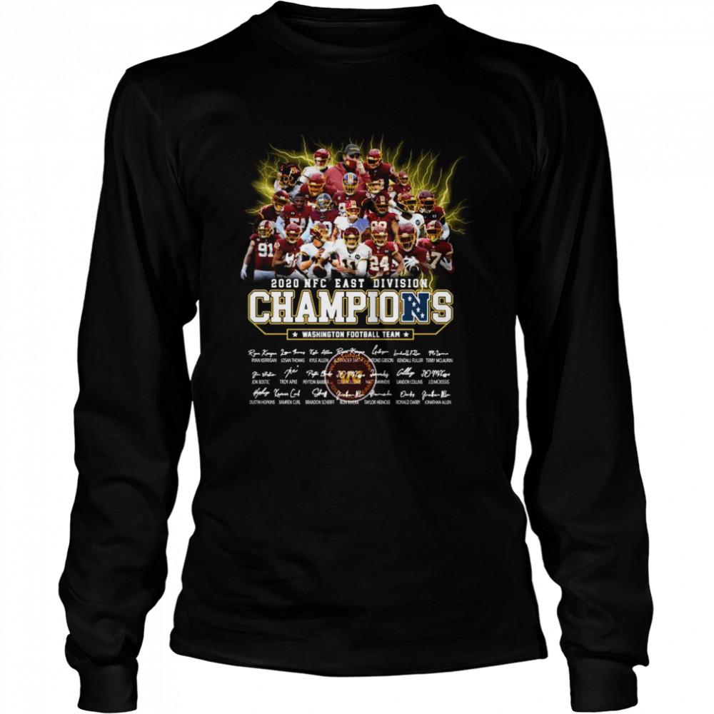 2020 Nfc East Division Champions Washington Football Team Signatures  Long Sleeved T-shirt