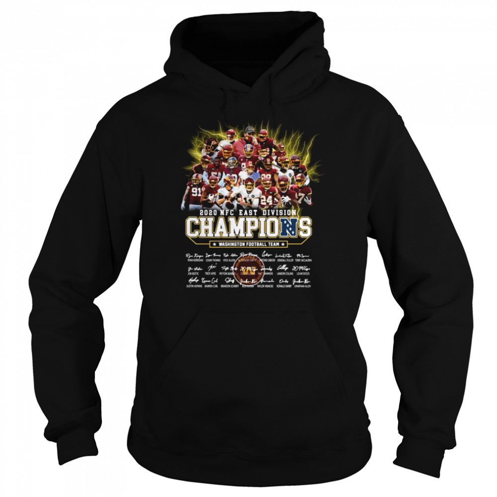 2020 Nfc East Division Champions Washington Football Team Signatures  Unisex Hoodie