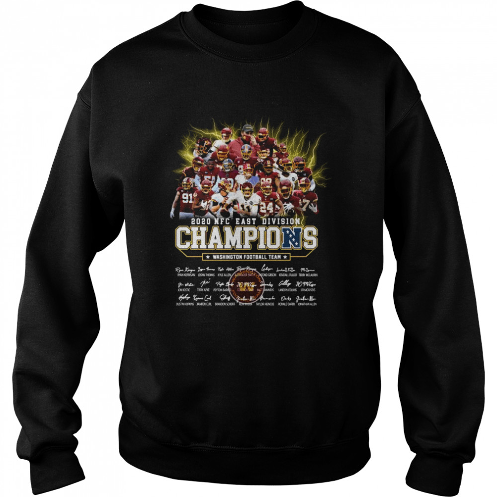2020 Nfc East Division Champions Washington Football Team Signatures  Unisex Sweatshirt