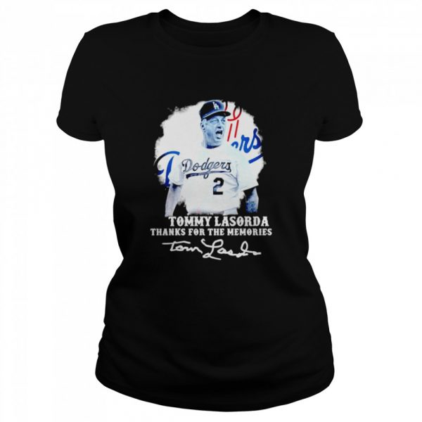Los Angeles Dodgers Tommy Lasorda Thanks For The Memories Signatures  Classic Women's T-shirt