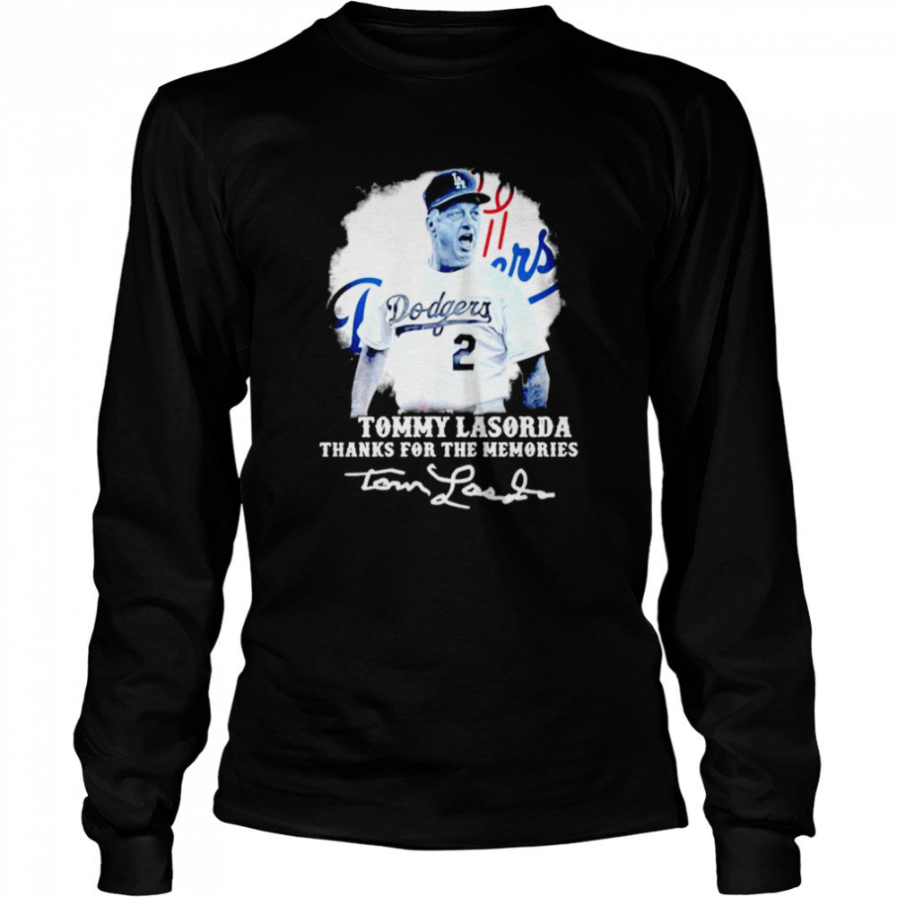 Los Angeles Dodgers Tommy Lasorda Thanks For The Memories Signatures  Long Sleeved T-shirt