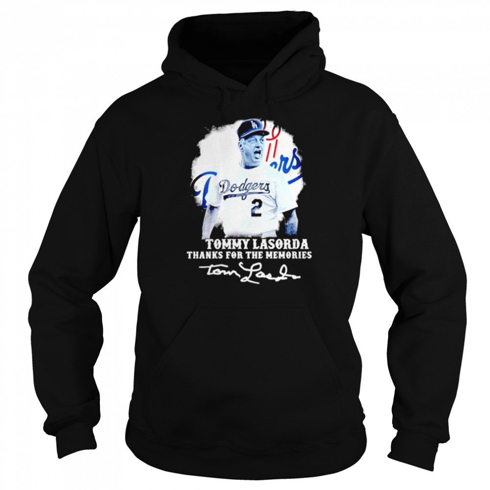 Los Angeles Dodgers Tommy Lasorda Thanks For The Memories Signatures  Unisex Hoodie