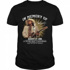 In Memory Of August 27 1990 Stevie Ray Vaughan Thank You For The Memories Signature  Classic Men's T-shirt