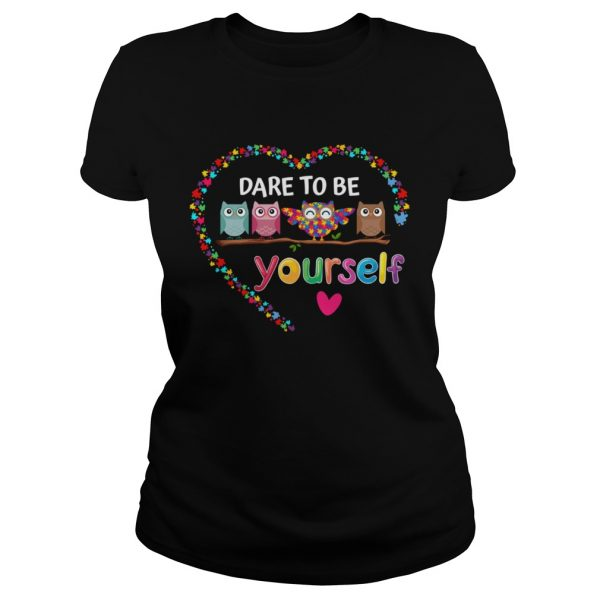 Dare To Be Yourself Autism Awareness Owl Heart Puzzle Piece  Classic Ladies